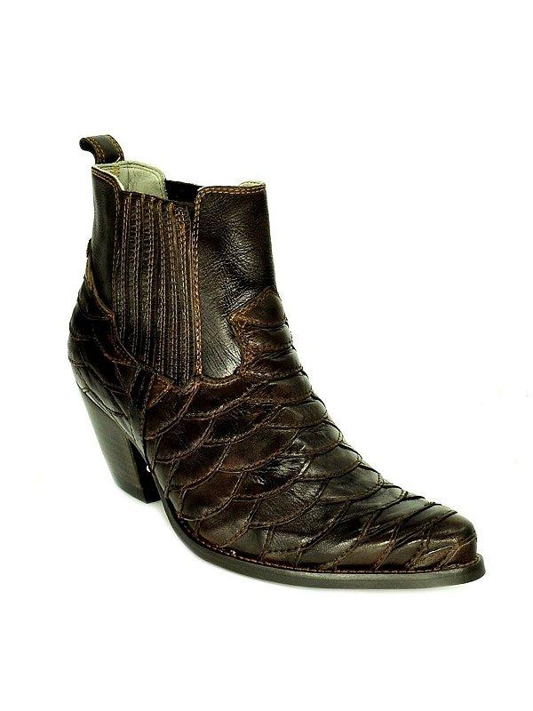 bota feminina bico fino cano curto couro escamada vimar west country