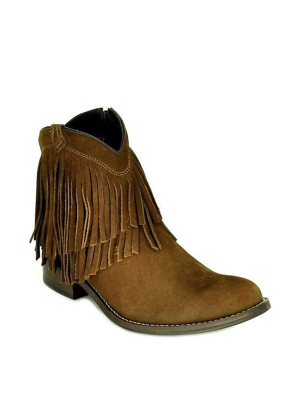 bota feminina bico redondo cano curto com franjas café vimar west country f9020dac84f