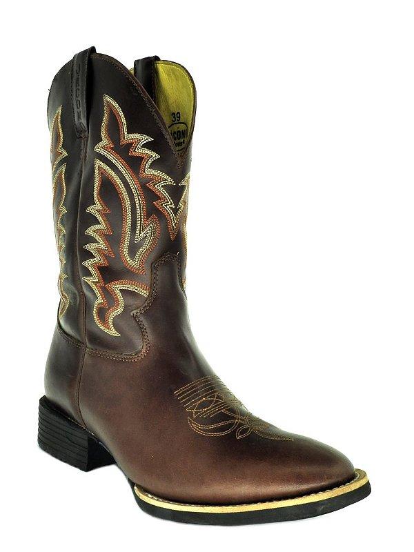 bota masculina bico redondo pull up brown pull up brown  jácomo