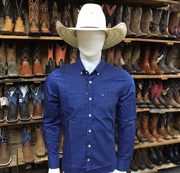 camisa manga longa custom fit xadrez azul rendler