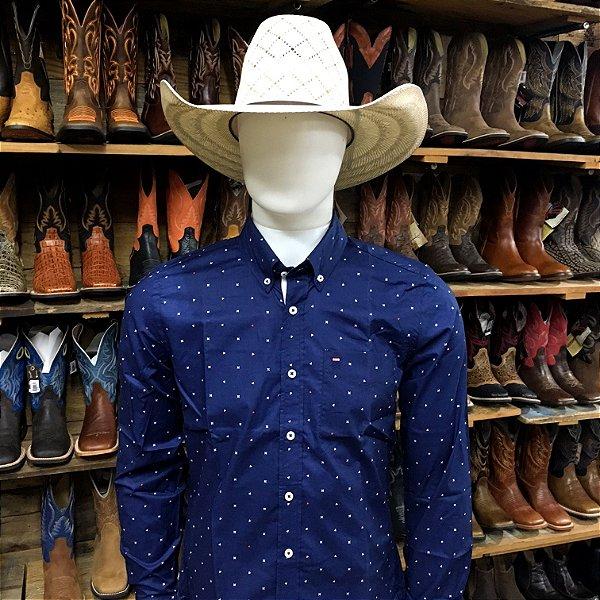 camisa manga longa custom fit estampada rendler 9999337