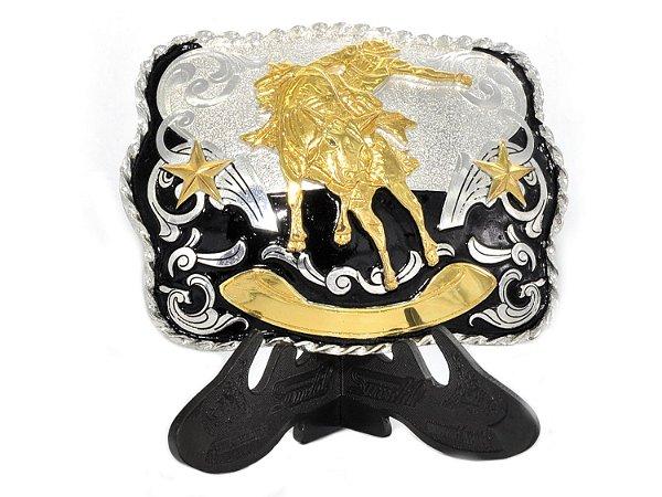 fivela touro dourado fundo preto sumetal 7052f