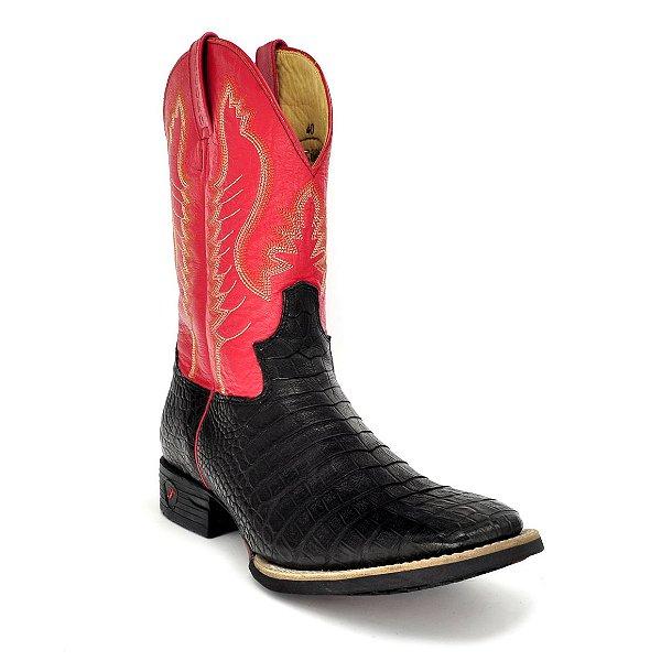 bota couro jacaré barriga preto napa vermelho jácomo 7202pgx