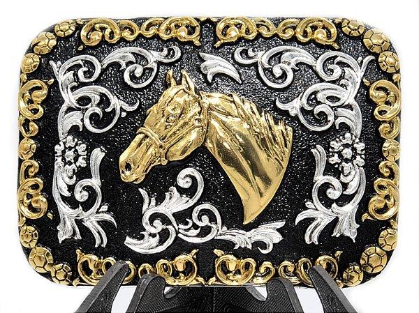fivela retangular cabeça de cavalo sumetal 9101