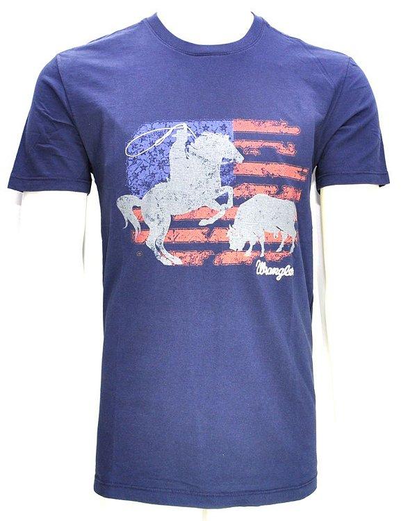camiseta cowboy azul - 71g11p52 wrangler