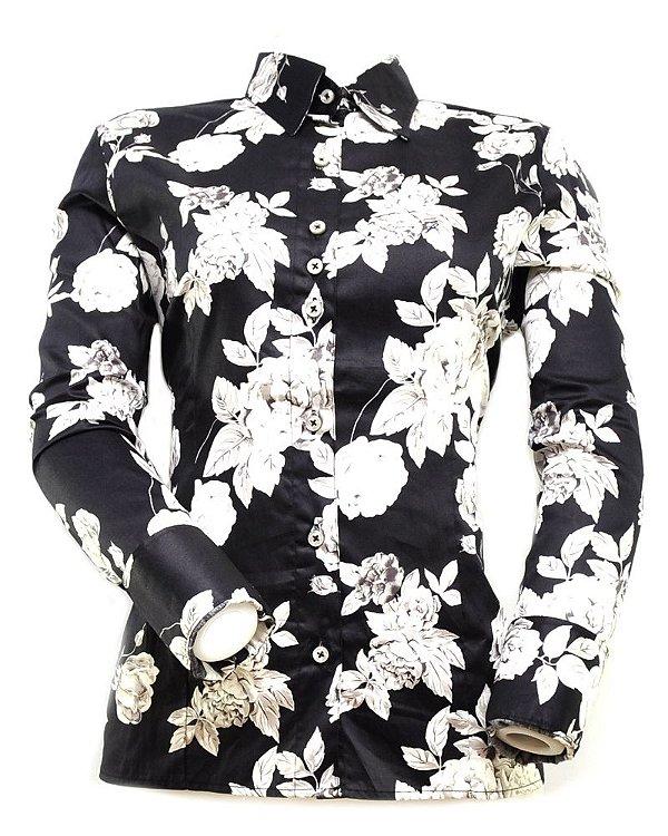 camisete rendler preta com flores - 562.8702