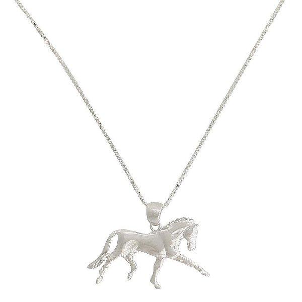 colar cavalo correndo 3d banho de prata