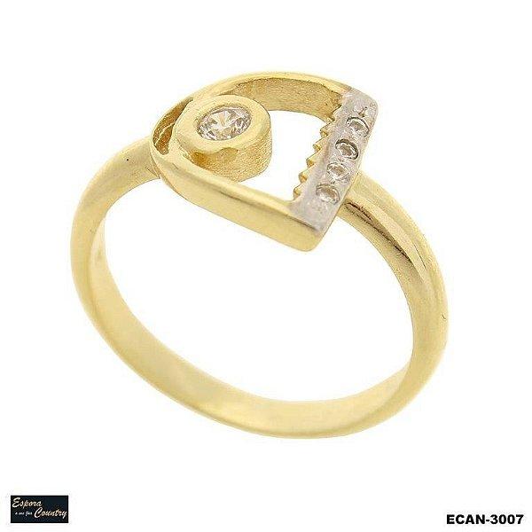 anel estribo banho 10 milésimos ouro 18k com pedras zircônia