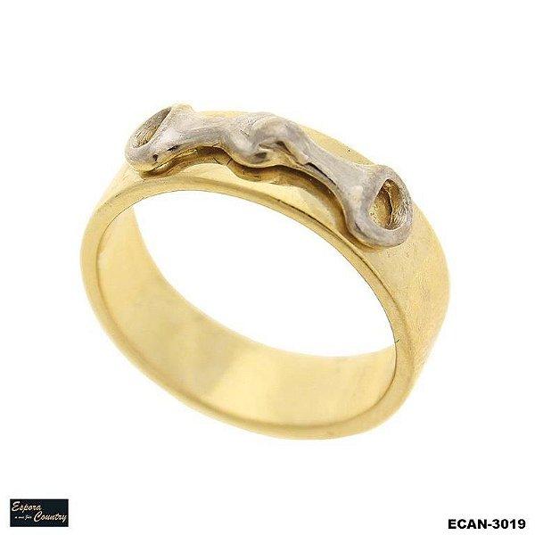 anel com bridão de rodio banho 10 milésimos de ouro 18k