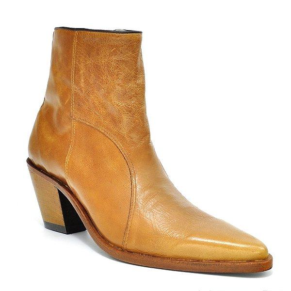 botina feminina bico fino cano curto brown 0115 - goyazes