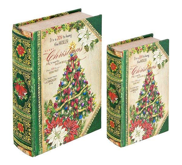 book box 2 peças christmas tree oldway 27 x 18 x 7 cm