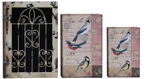 book box 3 peças + grade iron passaros oldway 35 x 26 x 9 cm