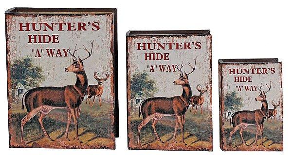 book box com 3 peças hunters hide alce oldway 35 x 26 x 8cm