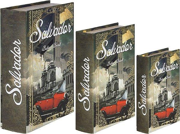 book box com 3 peças salvador calhambeque oldway 36 x 25 x 10cm