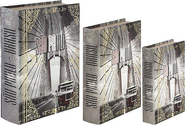 book box com 3 peças são paulo calhambeq oldway 36 x 25 x 10cm