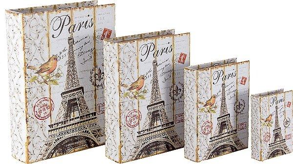 book box com 4 peças eiffel tower  com passaro oldway 37 x 27 x 8cm