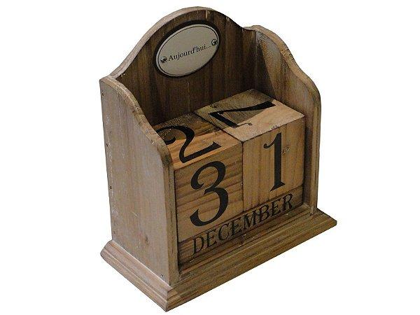 calendário madeira números em bloco oldway 19 x 17 x 8cm