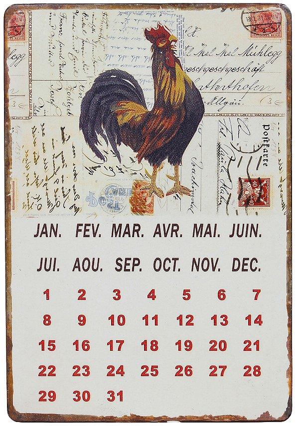 calendário magnético em metal galo oldway 21 x 14cm
