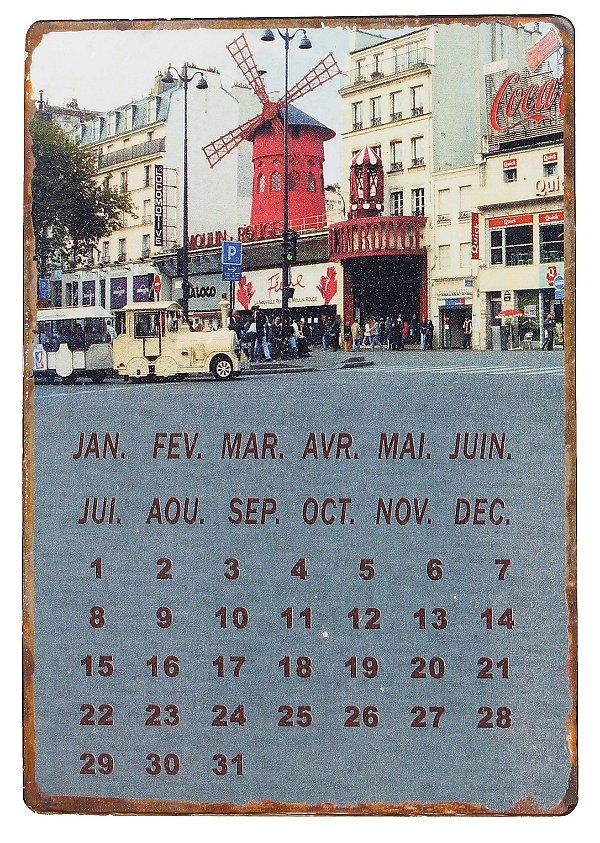 calendário magnético metal moulin rouge oldway 21 x 14cm