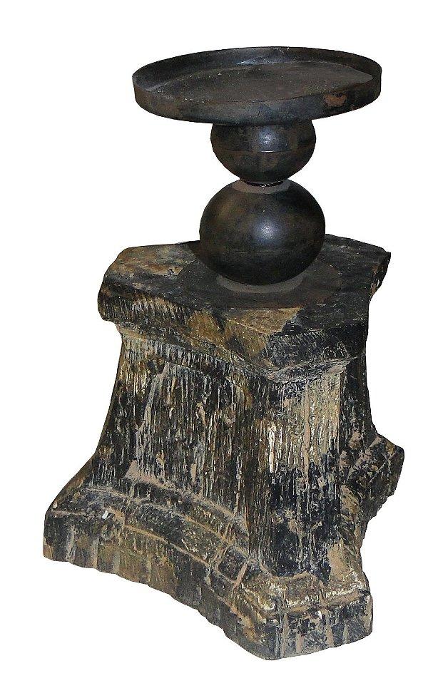 castiçal envelhecido black oldway 28 x 18 x17 cm