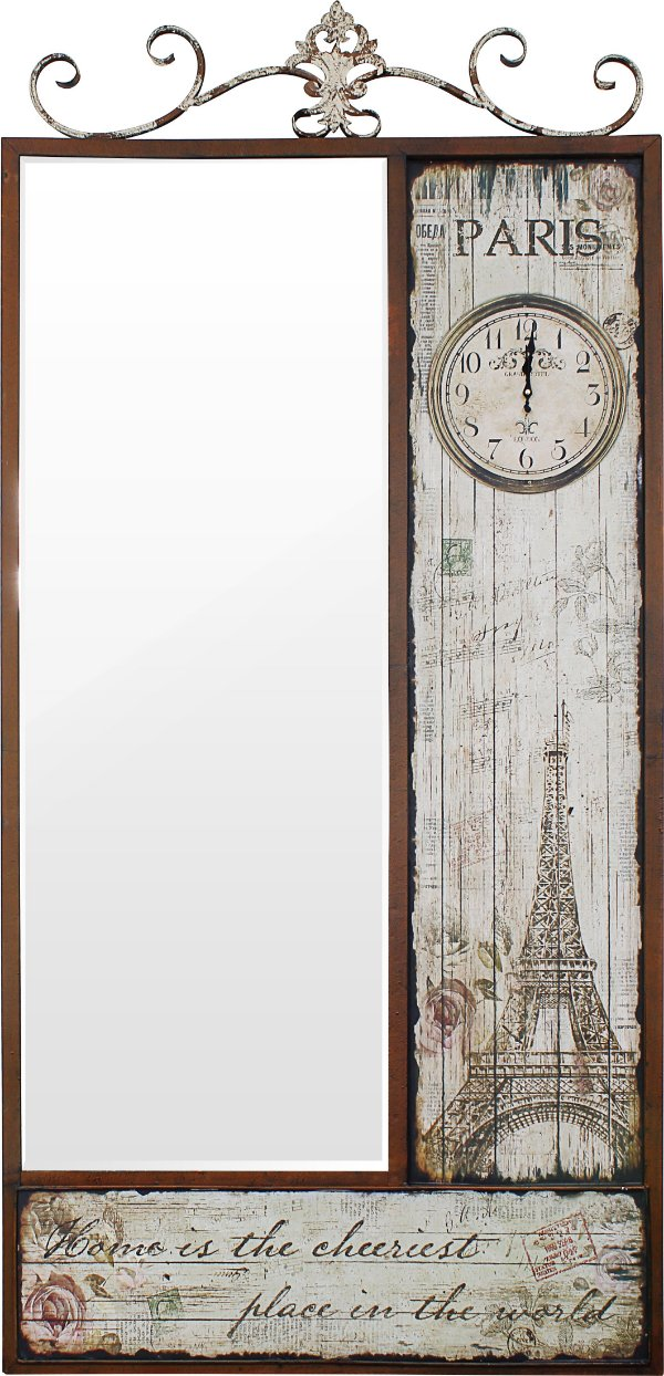 espelho relógio facet eiffel parís oldway 189 x 90 x 6cm