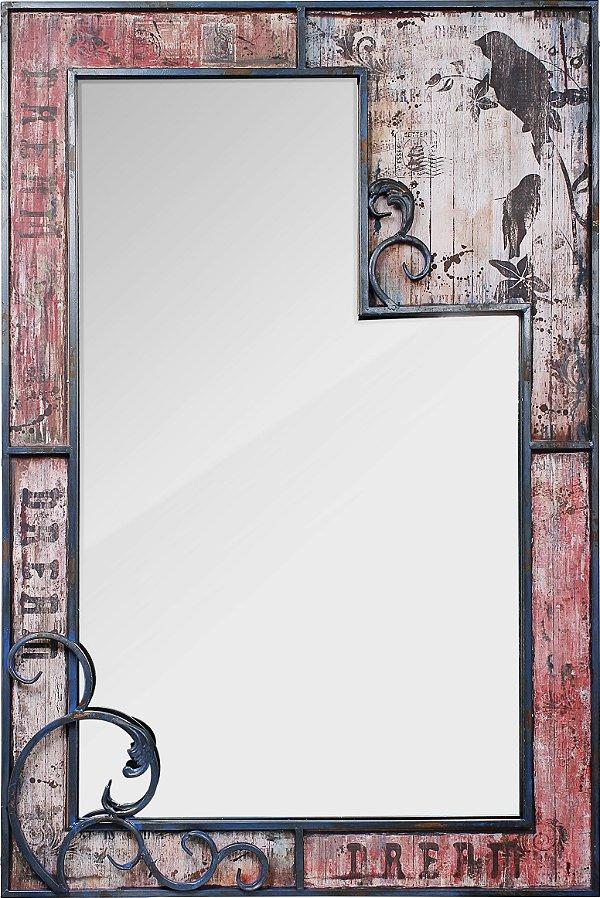 espelho moldura arabesc pássaros oldway 121 x 80 x 6cm