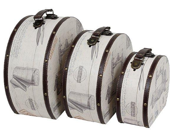 maletas 3 peças máquina de costura oldway 30 x 35 x 15cm