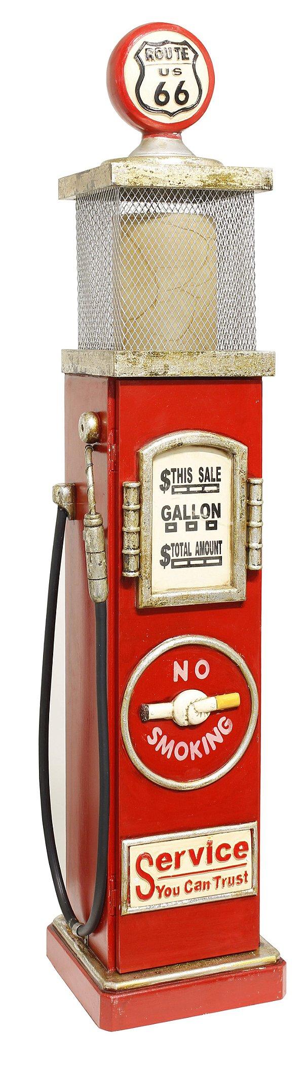 bomba gasolina iluminada rout 66 vermelha oldway 109x23x23cm