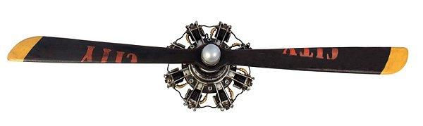 hélice de avião 2 pás metal e madeira oldway 138 x 34 x 20cm