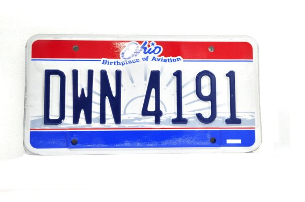 placa de carro decoração eua ohio dwn 4191