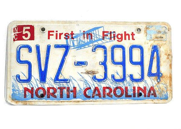 placa de carro decoração eua north carolina svz-3994
