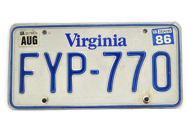 placa de carro decoração eua virginia fyp 770