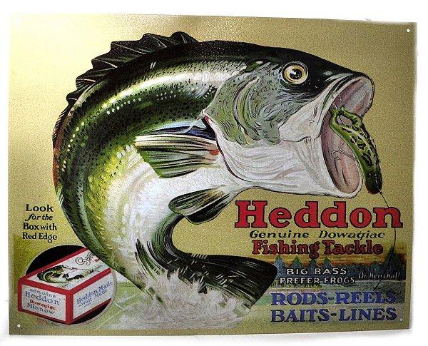 placa decoração heddon fishing