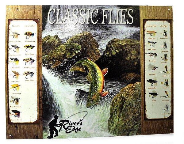 placa decoração classic flies