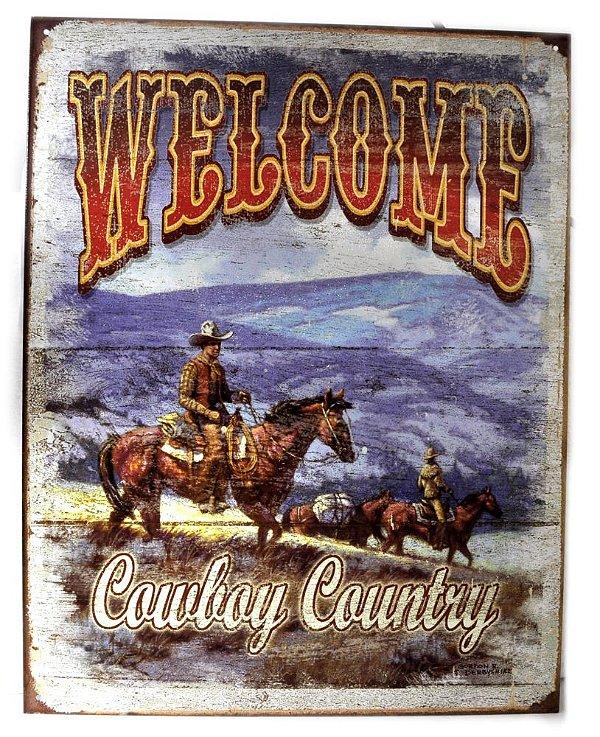 placa decoração welcome cowboy country