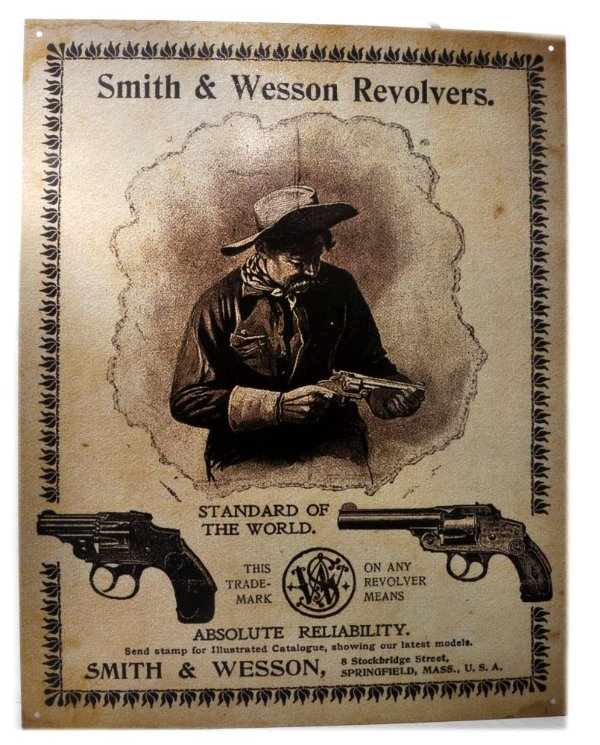 placa decoração smith wesson standard of the world