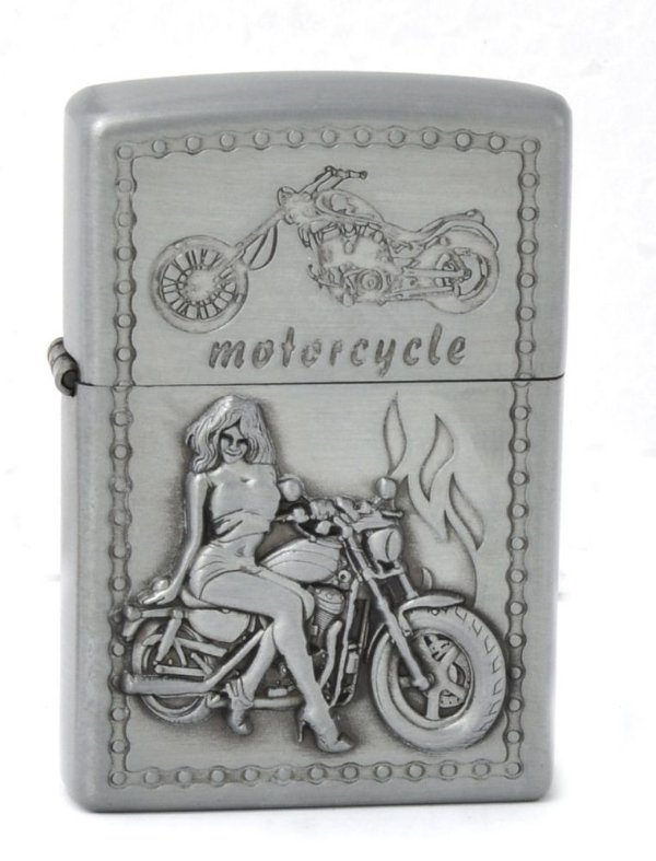 isqueiro prata motorcycle woman - noble elegant
