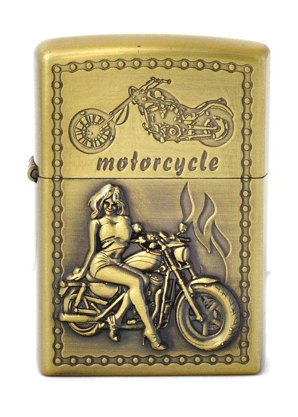 isqueiro cor bronze motorcycle woman / man - noble elegant