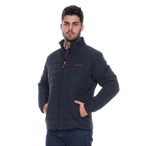 jaqueta preta masculina ziper pbr