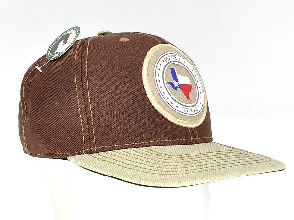boné marrom aba bege logo made in texas tx western