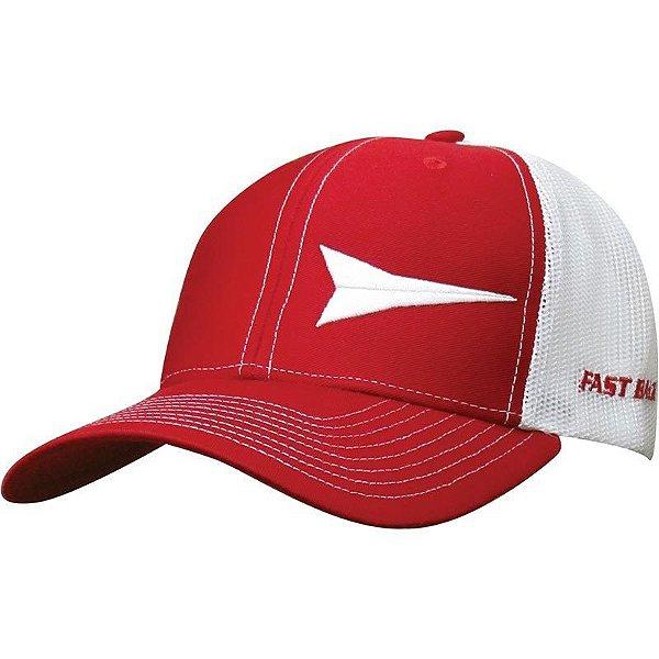 boné vermelho tela branca aba vermelha fast back