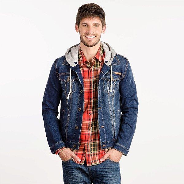 jaqueta jeans ìndigo com capuz - wrangler