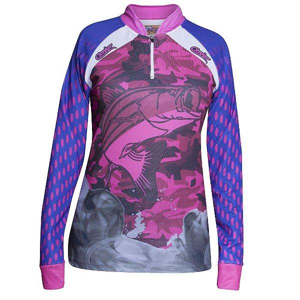 camiseta feminina dry fit rosa camuflada clonker