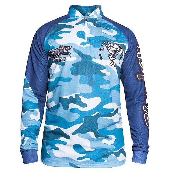 camiseta masculino dry fit tucunare azul clonker
