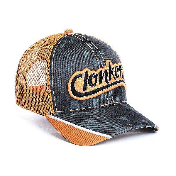 boné cinza tela laranja clonker
