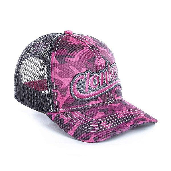 boné rosa camuflado tela cinza clonker