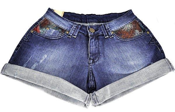 short jeans feminino detalhe floral wrangler - 694dj0450
