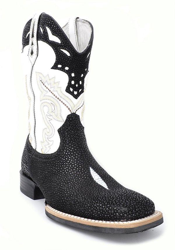 bota bico quadrado cano branco pé arraia vimar - 81199