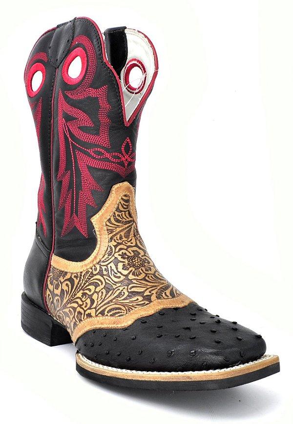 bota bico quadrado preto avestruz vimar - 81214