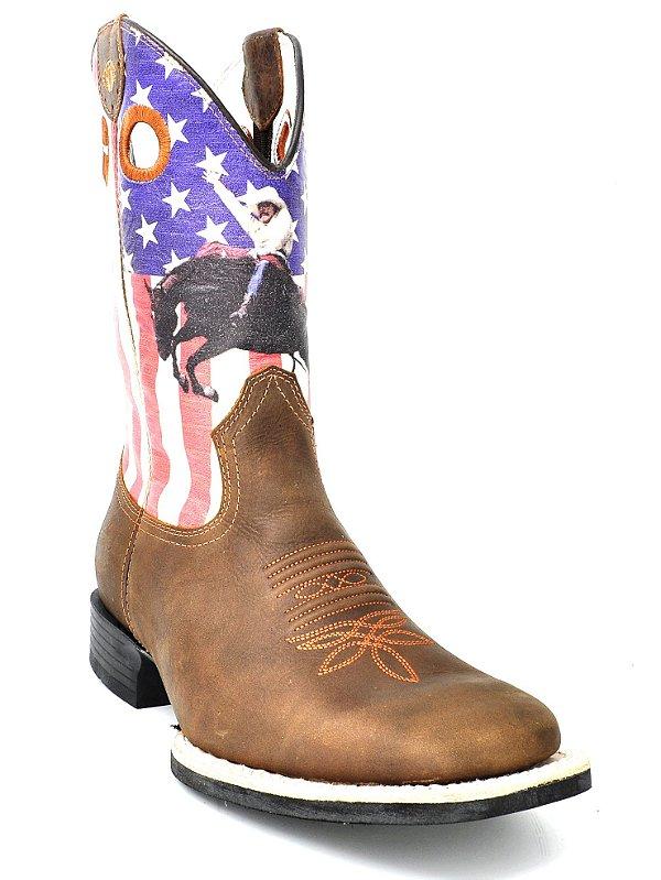 bota bico redondo bandeira eua cavalo vimar - 81196